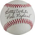 """Miscellaneous Collectibles:General, Betty White """"Rose Nylund"""" Single Signed Baseball - Golden Girls Theme...."""
