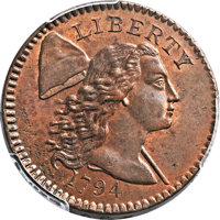 1794 1C Head of 1794, No Faction Bar MS64 Red and Brown PCGS. S-64, B-50, Low R.5. Our EAC Grade MS63. ...(PCGS# 35709)