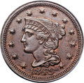 Large Cents, 1849 1C MS63 Brown PCGS. N-25, FS-301, High R.7. Our EAC Grade AU58....