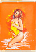 Original Comic Art:Splash Pages, Victor Olson Pin-Up Girl With a Yellow Towel IllustrationOriginal Art (undated)....