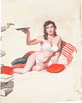 Original Comic Art:Splash Pages, Victor Olson Pin-Up With an Ashtray Illustration OriginalArt (undated)....