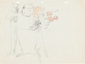"Animation Art:Production Drawing, ""Tic Tock Woman"" In-Studio Gag Sketch (Warner Brothers, c.1955)...."