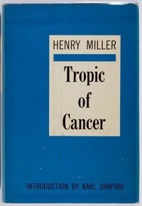 Henry Miller. SIGNED/INSCRIBED. Tropic of Cancer. New York: Grove Press, [1961]. First printing