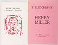 Books:Books about Books, Henry Miller. SIGNED/LIMITED. Two Bibliographies, one for his watercolors and one for his literary works. Literary bibliog... (Total: 2 Items)
