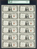 Small Size:World War II Emergency Notes, Fr. 2300 $1 1935A Hawaii Silver Certificates. Uncut Sheet. PCGSVery Choice New 64.. ...
