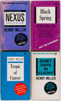 Books:Fiction, Henry Miller. SIGNED/INSCRIBED. Four Paperbacks, including: Black Spring, Nexus, Quiet Days in Clichy [and:] Tropic of... (Total: 4 Items)