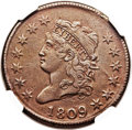 Large Cents, 1809 1C AU50 NGC. S-280, B-1, R.2. Our EAC Grade VF35. ...