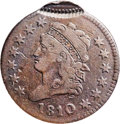 Large Cents, 1810/09 1C -- Double Struck, Second Strike 95% Off Center -- Fine12 PCGS. S-281, B-1, R.2. Our EAC Grade VG10....