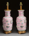 Asian:Chinese, A PAIR OF CHINESE PEKING ENAMEL VASES MOUNTED AS LAMPS . 20thcentury. 23-3/8 inches high (59.4 cm). ... (Total: 2 Items)