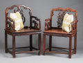 Asian:Chinese, TWO SIMILAR CHINESE CARVED WOOD ARM CHAIRS. 19th century. 39-3/4 x25 x 19 inches (101.0 x 63.5 x 48.3 cm) (larger). ... (Total: 2Items)