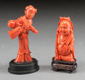 Asian, TWO ASIAN CARVED CORAL FIGURES . 20th century. 3-1/2 inches high(8.9 cm) (taller). ... (Total: 2 Items)