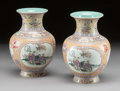 Asian:Chinese, A PAIR OF CHINESE PAINTED PORCELAIN VASES. Early 20th century.Marks: (chop marks). 7 inches high x 5 inches wide (17.8 x 12...(Total: 2 Items)