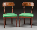 Furniture , A PAIR OF ITALIAN IVORY INLAID SIDE CHAIRS . 19th century. 32 x 19 x 14-1/2 inches (81.3 x 48.3 x 36.8 cm). ... (Total: 2 Items)