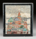 Decorative Arts, Continental:Other , A RUSSIAN FRAMED MICROMOSAIC PLAQUE OF THE KREMLIN. 20th century.11 inches high x 9-3/4 inches wide (27.9 x 24.8 cm). ...