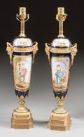 Ceramics & Porcelain, A PAIR OF SÈVRES-STYLE PORCELAIN AND GILT BRONZE VASES MOUNTED AS LAMPS. 19th century. 24 inches high (61.0 cm) (overall). ... (Total: 2 Items)