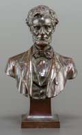 Bronze:American, A GEORGE BISSELL PATINATED BRONZE BUST OF ABRAHAM LINCOLN BY THEGORHAM FOUNDRY. Designed 1898. Marks: GEO E BISSELL SC, G...