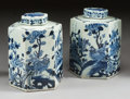 Asian:Chinese, A PAIR OF CHINESE PORCELAIN HEXAGONAL TEA JARS . Early 20thcentury. 14 x 11 x 10 inches (35.6 x 27.9 x 25.4 cm). ... (Total: 2Items)