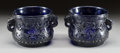 Asian:Chinese, A PAIR OF CHINESE PEKING BLUE GLASS CACHE POT WITH MYTHICAL BEASTDESIGN AND ELEPHANT HEAD HANDLES. 20th century. 5 x 7-1/2 ...(Total: 2 Items)