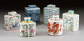 Asian:Chinese, SIX CHINESE PORCELAIN TEA CADDIES . Early 20th century. 7-1/2inches high (19.1 cm) (tallest). ... (Total: 6 Items)