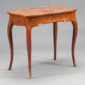 Furniture , A FRENCH MAHOGANY MARQUETRY DESK WITH LEATHER INSET PULL OUT WRITING SURFACE. 19th century. 20-1/2 x 31-1/4 x 18-3/4 inches ...