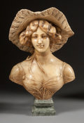 Decorative Arts, French:Other , A FRENCH ALABASTER BUST OF A LADY ON A MARBLE BASE. 19th century.27 x 19 x 12 inches (68.6 x 48.3 x 30.5 cm). ...