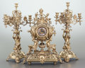 Decorative Arts, French:Lamps & Lighting, A THREE PIECE LOUIS XV-STYLE GILT BRONZE CLOCK GARNITURE. Late 19thcentury. Marks: LENZKIRCH. 20 x 15 x 6-1/2 inches (5...(Total: 3 Items)