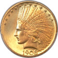 Indian Eagles, 1908 $10 Motto MS64+ PCGS. CAC....