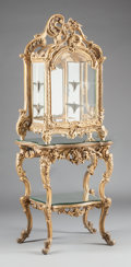 Furniture : French, A LOUIS XV-STYLE GILT WOOD VITRINE ON MIRRORED AND GILT WOOD BASE.19th century. 69-1/4 x 16-1/2 x 24 inches (175.9 x 41.9 x...
