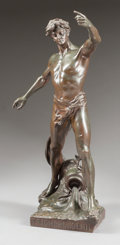 Bronze:European, A PATINATED BRONZE FIGURE OF A MALE NUDE: TRIOMPHE DU GENIE. Early 20th century. Marks: H. FUGERE, TRIOMPHE DU GEN...