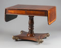 Furniture : English, AN ENGLISH REGENCY MAHOGANY, ROSEWOOD AND KINGWOOD DROP-LEAF SOFA TABLE WITH BRONZE MOUNTS. 19th century. 29 x 36-1/2 x 25-1...