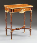 Furniture , A FRENCH MAHOGANY AND FRUITWOOD INLAID TABLE WITH GILT BRONZE MOUNTS. Early 20th century. 30 x 23-3/4 x 15-7/8 inches (76.2 ...