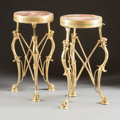 Furniture : French, A PAIR OF FRENCH NEOCLASSICAL-STYLE GILT BRONZE AND MARBLE INSETSIDE TABLES. 20th century. 27 inches high x 15 inches diame...(Total: 2 Items)