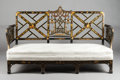 Furniture , AN ENGLISH CHINOISERIE CHIPPENDALE-STYLE SETTEE . 20th century. 43-1/2 x 72 x 28-1/2 inches (110.5 x 182.9 x 72.4 cm). ...