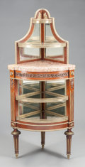 Furniture , A FRENCH CORNER ÉTAGÈRE WITH GILT BRONZE MOUNTS AND MIRRORED BACK. Early 20th century. 54-3/8 x 23-5/8 x 16-1/2 inches (138....