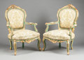 Furniture : Continental, A PAIR OF ITALIAN GREEN PAINTED AND PARCEL GILT UPHOLSTERED ARMCHAIRS. 20th century. 42 x 27 x 29 inches (106.7 x 68.6 x 73...(Total: 2 Items)