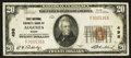 National Bank Notes:Maine, Augusta, ME - $20 1929 Ty. 1 First National Granite Bank Ch. # 498....