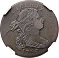 Large Cents, 1796 1C Draped Bust, Reverse of 1795 -- Burnished -- NGC Details.VF. S-99, B-22, R.5. Our EAC Grade VG10....