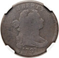 Large Cents, 1797 1C Reverse of 1797, Stems -- Double Struck -- Good 4 NGC.S-137, B-8, R.2. Our EAC Grade Good 4. ...