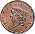 Large Cents, 1816 1C MS64 Red and Brown PCGS. N-2, R.1. Our EAC Grade MS63....