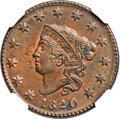 Large Cents, 1820 1C Small Date MS64 Brown NGC. N-7, R.2. Our EAC Grade MS60....