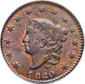 Large Cents, 1820/19 1C MS64 Brown PCGS. N-3, R.2. Our EAC Grade MS62....