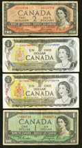 Canadian Currency: , BC-30b $2 Devil's Face and Three $1 Notes.. ... (Total: 4 notes)