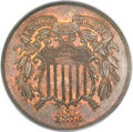 Proof Two Cent Pieces, 1873 2C Open 3 PR64 Red and Brown PCGS. CAC....