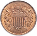 Two Cent Pieces, 1865 2C MS66 Red and Brown PCGS. CAC....
