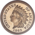 Proof Indian Cents, 1863 1C PR65 Cameo PCGS. CAC....