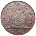 Colonials, 1787 1C Fugio Cent, STATES UNITED, 4 Cinquefoils, Pointed Rays MS65 Brown NGC. N. 11-X, W-6790, R.4....