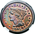 Proof Large Cents, 1845 1C PR62 Red and Brown NGC. N-14, High R.6. Our EAC GradePR60....
