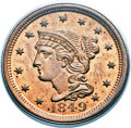Large Cents, 1849 1C MS64 Red and Brown PCGS. N-22, R.1. Our EAC Grade MS63....