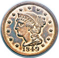 Proof Large Cents, 1849 1C PR64 Red and Brown PCGS. N-18, R.6. Our EAC Grade PR64....
