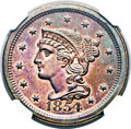 Proof Large Cents, 1854 1C PR66 Red and Brown NGC. N-12, R.6 as a Proof. Our EAC GradePR64....